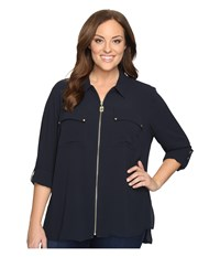 Michael Michael Kors Plus Size Dog Tag Zip Top New Navy Women's Clothing