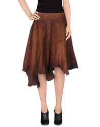 Bad Spirit Knee Length Skirts Brown