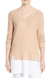Women's Two By Vince Camuto Poplin Inset V Neck Sweater Moonbeam