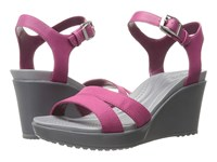 Crocs Leigh Ii Ankle Strap Wedge Berry Women's Wedge Shoes Burgundy
