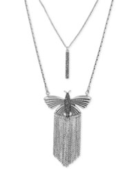Lucky Brand Silver Tone Pave Bar And Fringe Butterfly Layer Pendant Necklace