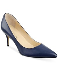 Ivanka Trump Tirra Pointy Toe Pumps Women's Shoes Navy Blue Leather