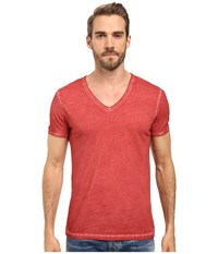 Boss Orange Toulouse Fashion Fit Garment Dyed Jersey V Neck Tee Red Men's Short Sleeve Pullover