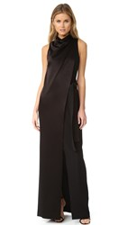 Halston Draped Neck Satin Gown With Belt Black