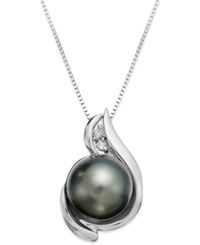 Macy's 14K White Gold Tahitian Pearl 8.5Mm And Diamond Accent Pendant Necklace