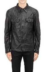 Ralph Lauren Black Label Wrinkled Leather Jacket Black