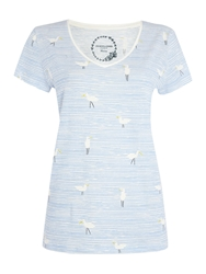 Dickins And Jones Seagull Stripe Design Tee Blue