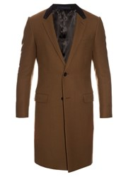 Lanvin Contrast Collar Single Breasted Coat Khaki