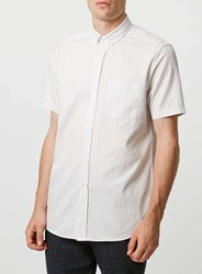 Topman Grey White Striped Short Sleeve Casual Shirt