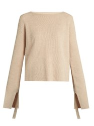 Helmut Lang Ruched Sleeved Wool And Cashmere Blend Sweater Beige