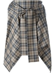 Vivienne Westwood Anglomania Checked Pointy Asymmetric Skirt Grey