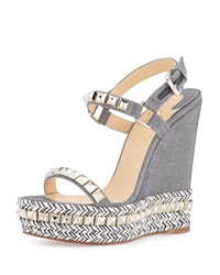 Christian Louboutin Cataclou Studded Denim Platform Red Sole Espadrille