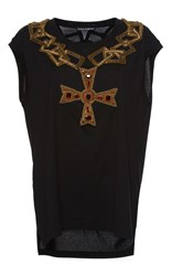 Dolce And Gabbana Cross Necklace Patch Tee Black