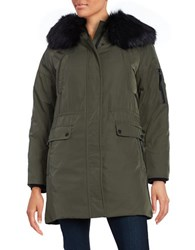 Calvin Klein Long Sleeve Faux Fur Trim Hooded Parka Jacket Olive