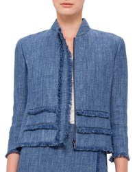 Akris Punto 3 4 Sleeve Fringe Trim Jacket Bleached Denim Size 2
