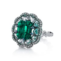 Arunashi Emerald And Diamond Tabiz Ring Green
