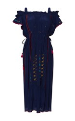 Rossella Jardini Off The Shoulder Embroidered Dress Navy