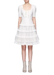 Temperley London 'Sea' Fish Lace Tiered Ruffle Dress White