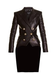 Balmain Six Button Double Breasted Leather Jacket Black