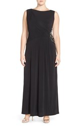 Plus Size Women's Sangria Embellished Side Gathered Jersey Gown