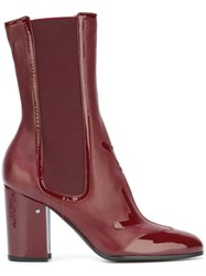 Laurence Dacade Patent Panel Boots Red