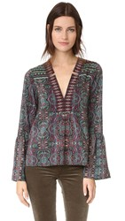 Nanette Lepore Persian Print Blouse Dark Green