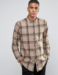 Asos Longline Camel Check Shirt With Textured Fabric And Long Sleeves In Regular Fit Camel Tan