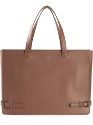 Tomas Maier Flat Rectangular Tote Brown