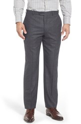 Men's Hickey Freeman Flat Front Solid Wool Travel Trousers Charcoal