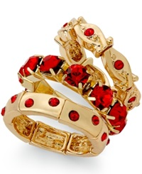 Style And Co. Gold Tone Red Stone Ring Set
