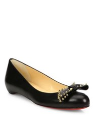 Christian Louboutin Studded Bow Leather Ballet Flats Black Gold