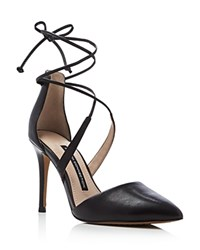 French Connection Elise Pointed Toe Lace Up Pumps Black