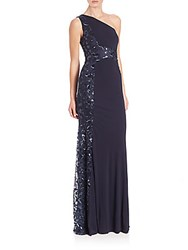 David Meister Beaded One Shoulder Jersey Gown Navy
