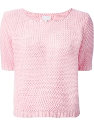 Lala Berlin Short Sleeve Sweater Pink And Purple