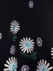 Markus Lupfer Navy Ditsy Daisy Embroidered Heidi Dress Black