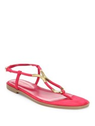 Sergio Rossi Twist Suede Flat Sandals Electric Pink Baobab