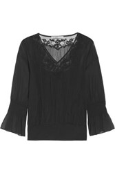 Chelsea Flower Embroidered Tulle Paneled Georgette Blouse Black