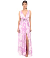 Halston Sleeveless V Neck Print Blocked Chiffon Gown Oyster Tullip Orchid All Over Print Women's Dress Pink
