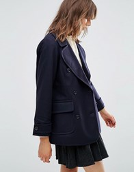 Ymc Double Breasted Pea Coat Navy Blue