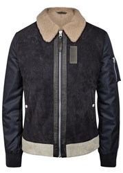 Schott Nyc Fireman Navy Shell And Suede Jacket