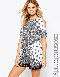 Asos Maternity Playsuit In Mono Print With Cold Shoulder And Tassle Hem Black White Multi