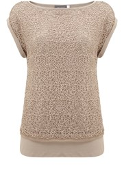 Mint Velvet Champagne Lace Sequin Layered Tee Neutral