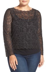 Nic Zoe Plus Size Women's 'Brushed Lace' Top