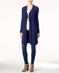 Inc International Concepts Petite Ruffled Duster Cardigan Only At Macy's Tartan Blue