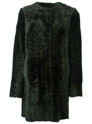 Drome Reversible Animal Print Coat Green