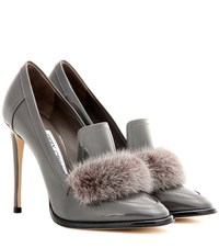 Jimmy Choo Lyza 110 Fur Trimmed Patent Leather Pumps Grey