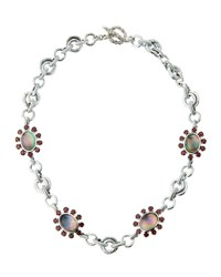 Stephen Dweck Verona Mother Of Pearl Doublet And Garnet Floral Station Necklace