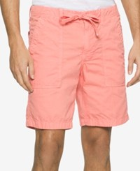 Calvin Klein Jeans Men's Faded Poplin Shorts Charged Coral