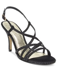 Adrianna Papell Acacia Strappy Slingback Evening Sandals Women's Shoes Black