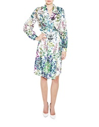 Pink Tartan Botanical Wrap Dress Green Multi